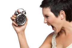 Alarmuhr-Frau lizenzfreie stockfotografie