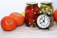 Alarrm clock and pumpkin Royalty Free Stock Photo