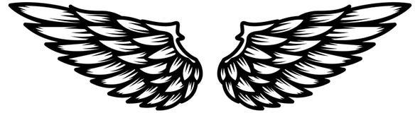 Alas aisladas en el fondo blanco Diseñe el elemento para el logotipo, etiqueta, emblema, muestra Imágenes de archivo libres de regalías