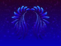 Alas azules abstractas y estrellas que brillan intensamente ilustración del vector