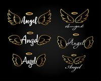 Alas de oro del ángel del vuelo del garabato con halo Alas angelicales del bosquejo Libertad y diseño religioso del tatuaje Foto de archivo