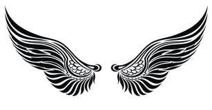 Alas del ángel aisladas en blanco. Diseño del tatuaje Imágenes de archivo libres de regalías