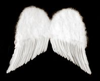 Alas del ángel aisladas en negro Fotos de archivo libres de regalías