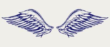 Alas del ángel. Estilo del Doodle Foto de archivo libre de regalías