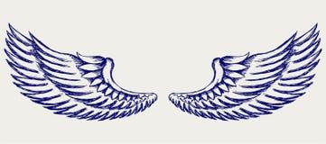 Alas del ángel. Estilo del Doodle Imagen de archivo libre de regalías