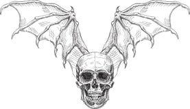 Alas del cráneo y del diablo Foto de archivo libre de regalías