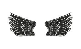 Alas del negro del vector Estilo retro de moda Elemento para los emblemas del diseño, carteles stock de ilustración