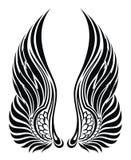 Alas del ángel aisladas en blanco. Diseño del tatuaje Fotos de archivo