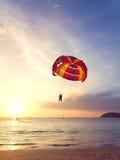 Alas flexibles en la puesta del sol, concepto de la aventura del verano Imagen de archivo