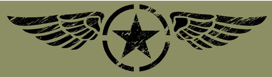 Alas militares - negro Foto de archivo