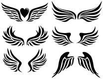 Alas negras del ángel Imagen de archivo libre de regalías