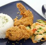 Alas y arroz de pollo frito imagen de archivo