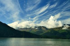 Alaska. Morning in Alaska with cloud formations stock photo