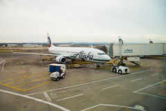 Alaska Airlines Flight Boarding Stock Photo