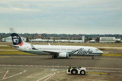 Alaska Airlines Flight Before Takeoff Stock Images
