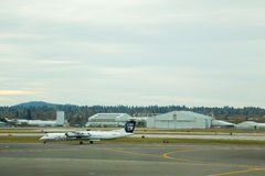 Alaska Airlines Flight Before Takeoff Royalty Free Stock Image