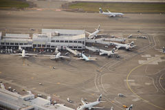 Alaska Airlines Ramp Area. Aerial view of Alaska Airlines hub at Seattle-Tacoma Internatonal Stock Photography