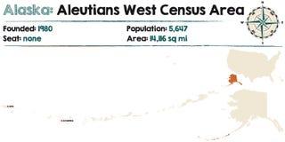 Alaska: Aleutians spisu ludności Zachodni teren ilustracji