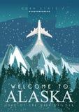 Alaska american travel banner. Night landscape Stock Photos