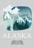 Alaska american travel banner. Poster with polar bear. Alaska american travel banner. Vector USA banner. United States of America. Vintage card. Poster with vector illustration