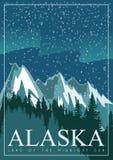 Alaska american travel banner. Snow landscape Royalty Free Stock Images