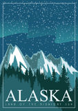 Alaska amerikanskt loppbaner härlig snow för destinationsliggandeskidåkning royaltyfri illustrationer