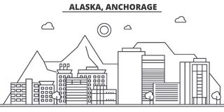 Alaska, Anchorage architecture line skyline illustration. Linear vector cityscape with famous landmarks, city sights. Design icons. Editable strokes Royalty Free Stock Photography