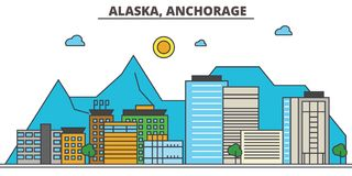 Alaska, Anchorage.City skyline. Alaska, Anchorage.City skyline: architecture buildings, streets silhouette, landscape panorama, landmarks. Editable strokes Stock Photos