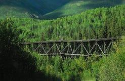 Alaska- Ancient Wooden Railroad Bridge- Wrangell stock photos