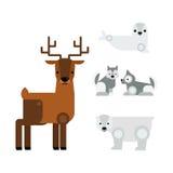 Alaska animals vector illustration. Alaska state symbols flat style. Abstract tessellation modern design. Vector america travel animal national geographic Stock Photo