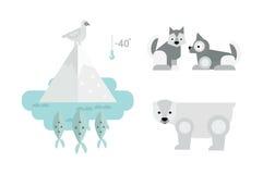 Alaska animals vector illustration. Alaska state symbols flat style. Abstract tessellation modern design. Vector america travel animal national geographic Stock Images