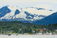 Alaska - Auke fjärdhamn utvändiga Juneau Arkivbild