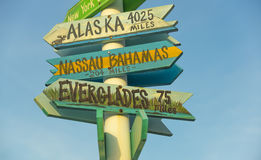 Alaska?  Bahamas?  Take your pick. Set up shop in West Palm Beach and this was posted at a local marina Royalty Free Stock Photos