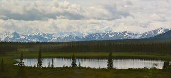 Alaska berg med reflexion av träd royaltyfri fotografi