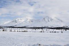 alaska Bergen De winterlandschap met sneeuw en blauwe hemel Stock Afbeeldingen