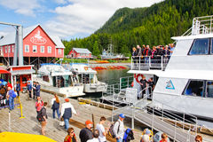 Alaska Busy Icy Strait Point Dock Royalty Free Stock Photos