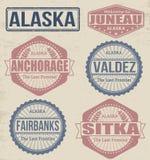 Alaska cities stamps Stock Photo