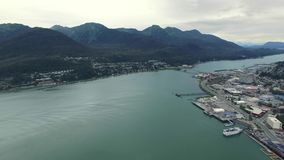 Alaska city helicopter view stock video