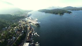 Alaska city helicopter view stock footage