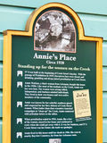 Alaska - Creek Street Annie's Place Historic Marker Sign. This historic marker sign tells the story of Annie's Place, a brothel that was owned by a black woman royalty free stock photography