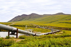 Alaska crude oil. A view of the Alaska oil pipeline in the wilderness stock image