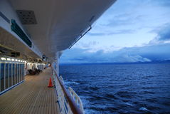 Alaska cruise. Deck on a cruise ship sailing in Alaska Stock Images