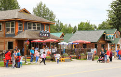 Alaska Downtown Talkeetna Cafe with Visitors Royalty Free Stock Photo