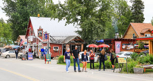 Alaska Downtown Talkeetna Visitors and Shops Royalty Free Stock Image