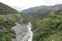 Alaska drewniana taborowa kobyłka nad rzeką Obraz Royalty Free