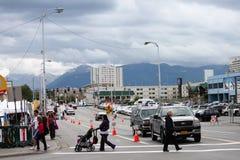 Alaska för i stadens centrum ankring dyster Sky Royaltyfri Foto