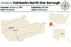 Alaska: Fairbanks i Północnej gwiazdy podgrodzie Obraz Stock
