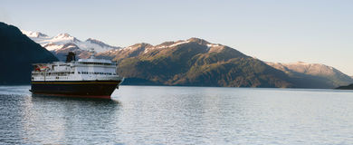 Alaska Ferry System Ship Leaving Whittier. WHITTIER, ALASKA/UNITED STATES – AUGUST, 3: The MV Kennicott an alaskan ferry arrives to pick up new passengers on Stock Photography