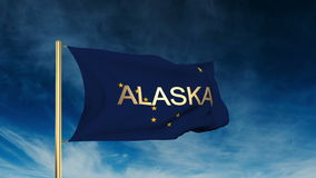 Alaska flag slider style with title. Waving in the stock video