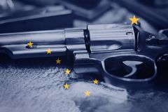 Alaska flag U.S. state Gun Control USA. United States Gun Law. S Stock Photo